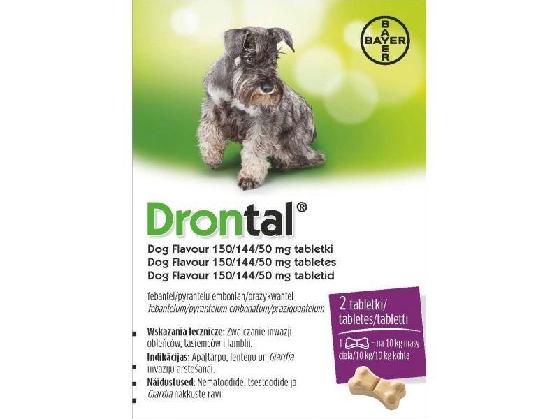 DRONTAL DOG FLAVOUR 150/144/50MG TABLETES N2 SUŅIEM