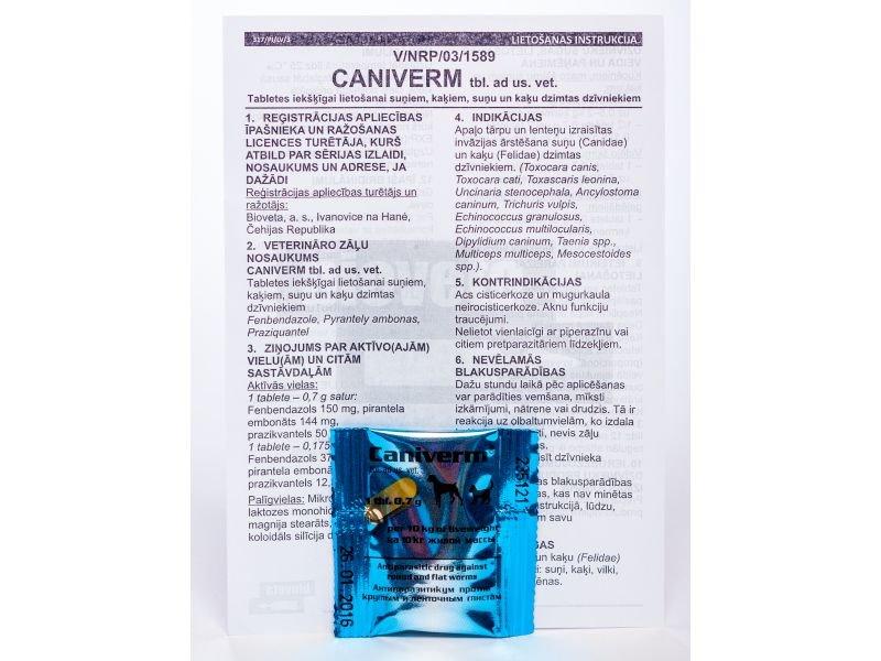 CANIVERM 0.7G TABLETES N1 SUŅIEM/KAĶIEM